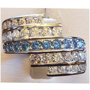 6ct Aquamarine & White Sapphire Ring Size 8